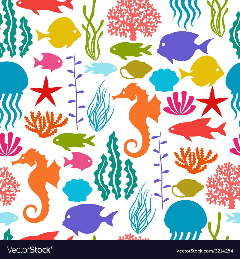 Marine life seamless pattern with sea animals vector | Price: 1 Credit (USD $1)