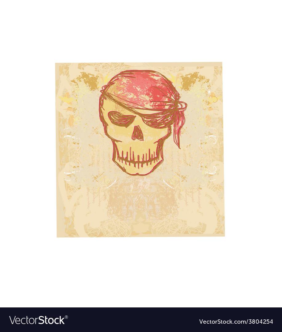 Skull pirate - retro card vector | Price: 1 Credit (USD $1)