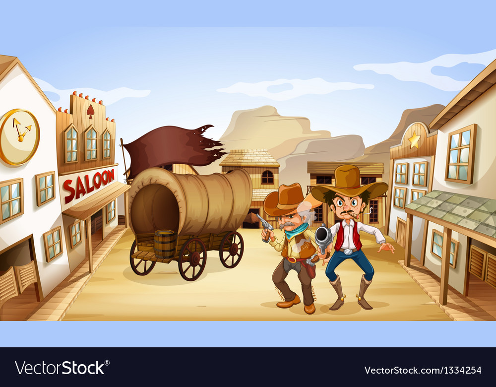 Two dangerous armed men near the saloon bar vector | Price: 1 Credit (USD $1)