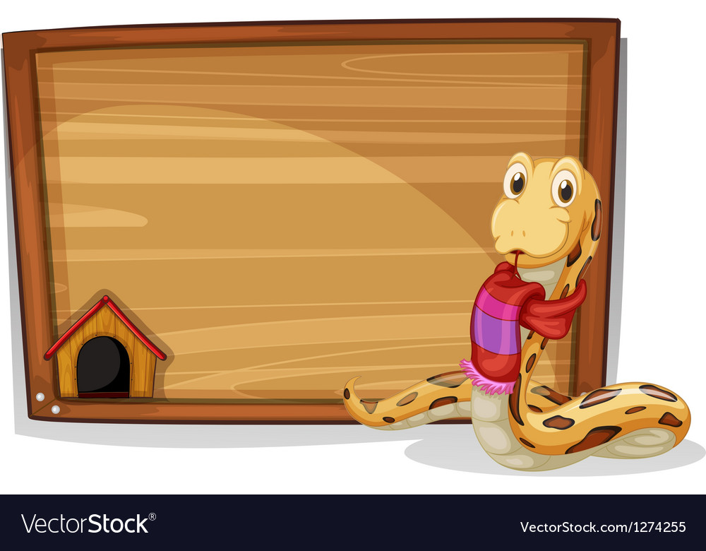 A wooden empty board with a snake vector | Price: 1 Credit (USD $1)