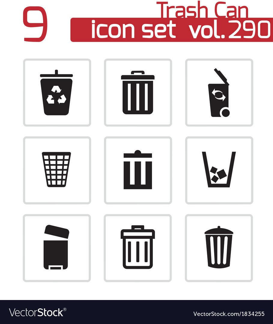 Black trash can icons set vector | Price: 1 Credit (USD $1)