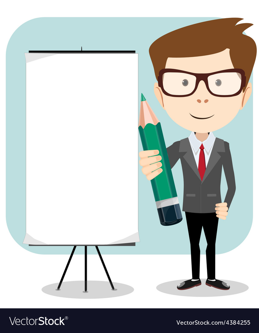 Businessman with a poster and pencil vector | Price: 1 Credit (USD $1)