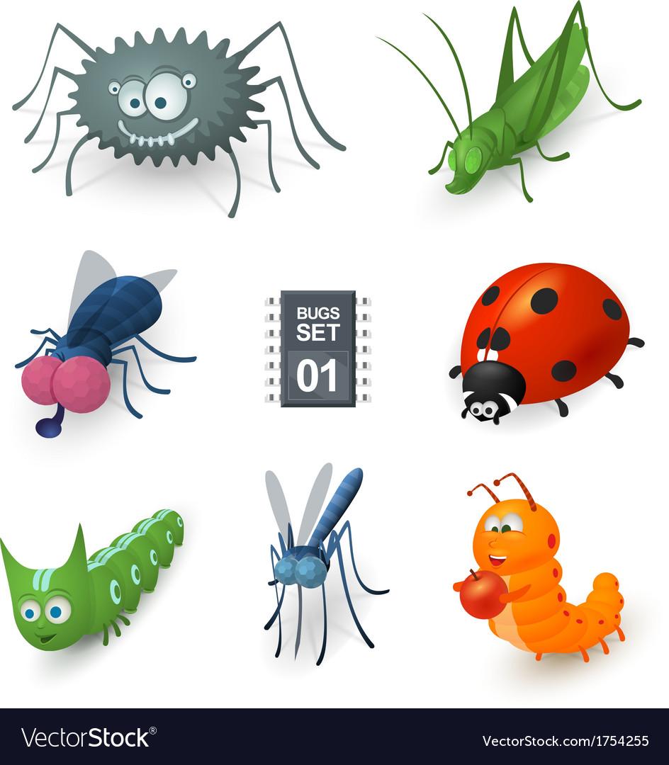Cartoon bugs set vector | Price: 1 Credit (USD $1)