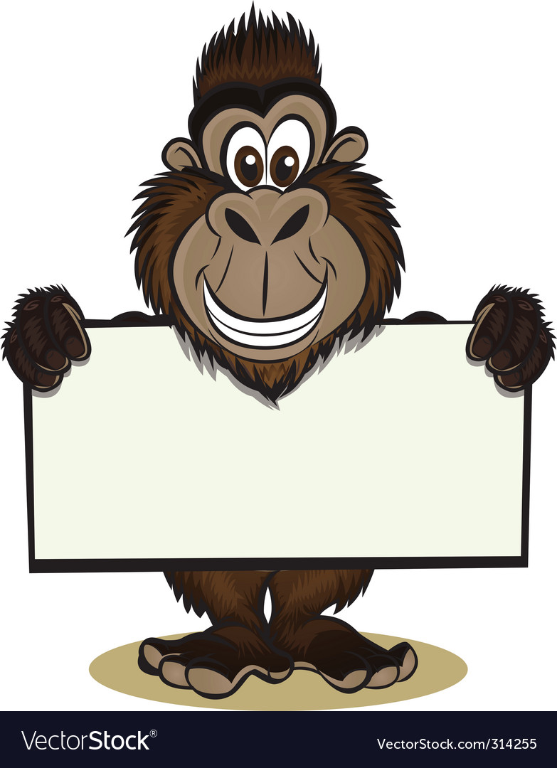Cute gorilla holding sign vector | Price: 3 Credit (USD $3)