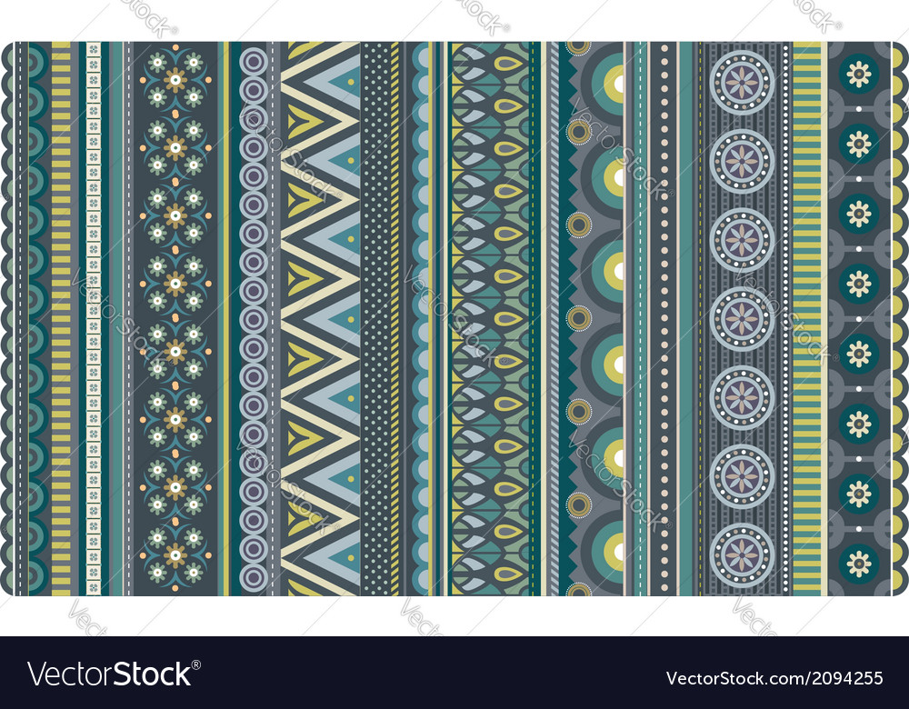 Ethnic various strips motifs in green and olive vector | Price: 1 Credit (USD $1)