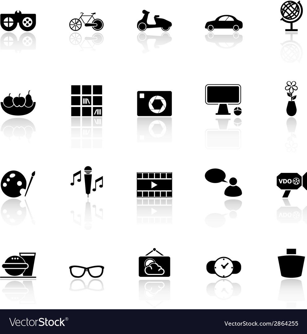 Favorite and like icons with reflect on white vector | Price: 1 Credit (USD $1)