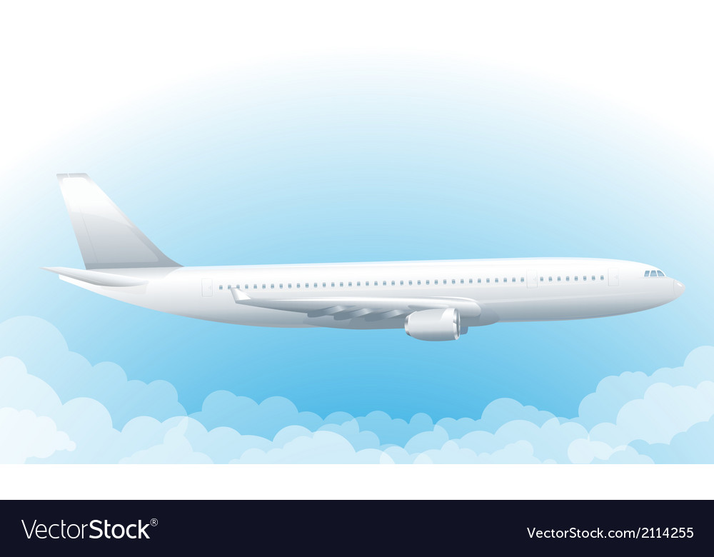 Flying airplane in sky vector | Price: 1 Credit (USD $1)