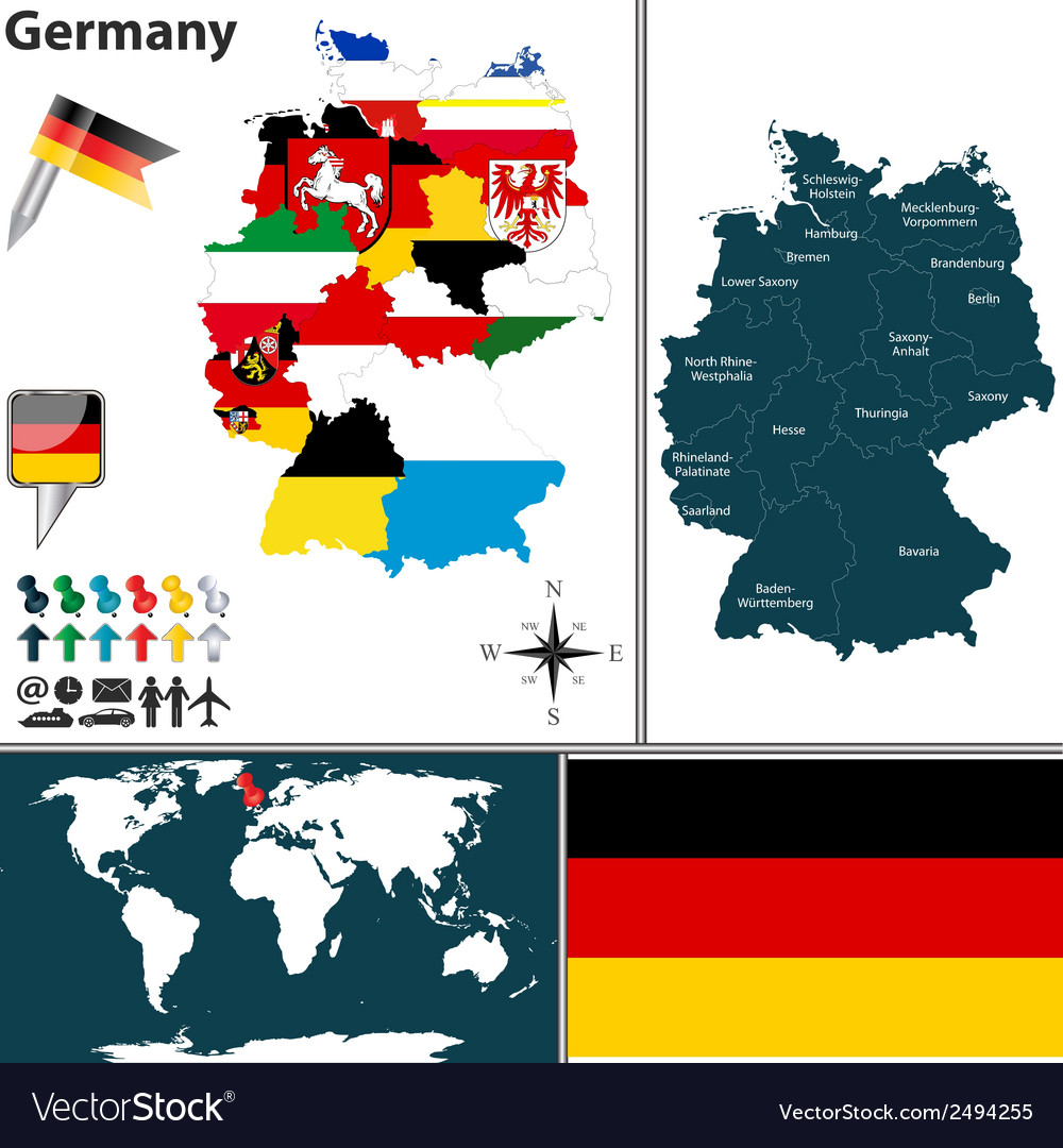 Germany map with regions and flags vector | Price: 1 Credit (USD $1)