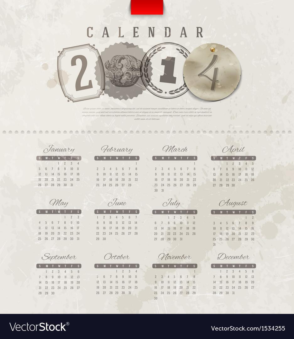 Grunge vintage calendar of 2014 year vector | Price: 1 Credit (USD $1)