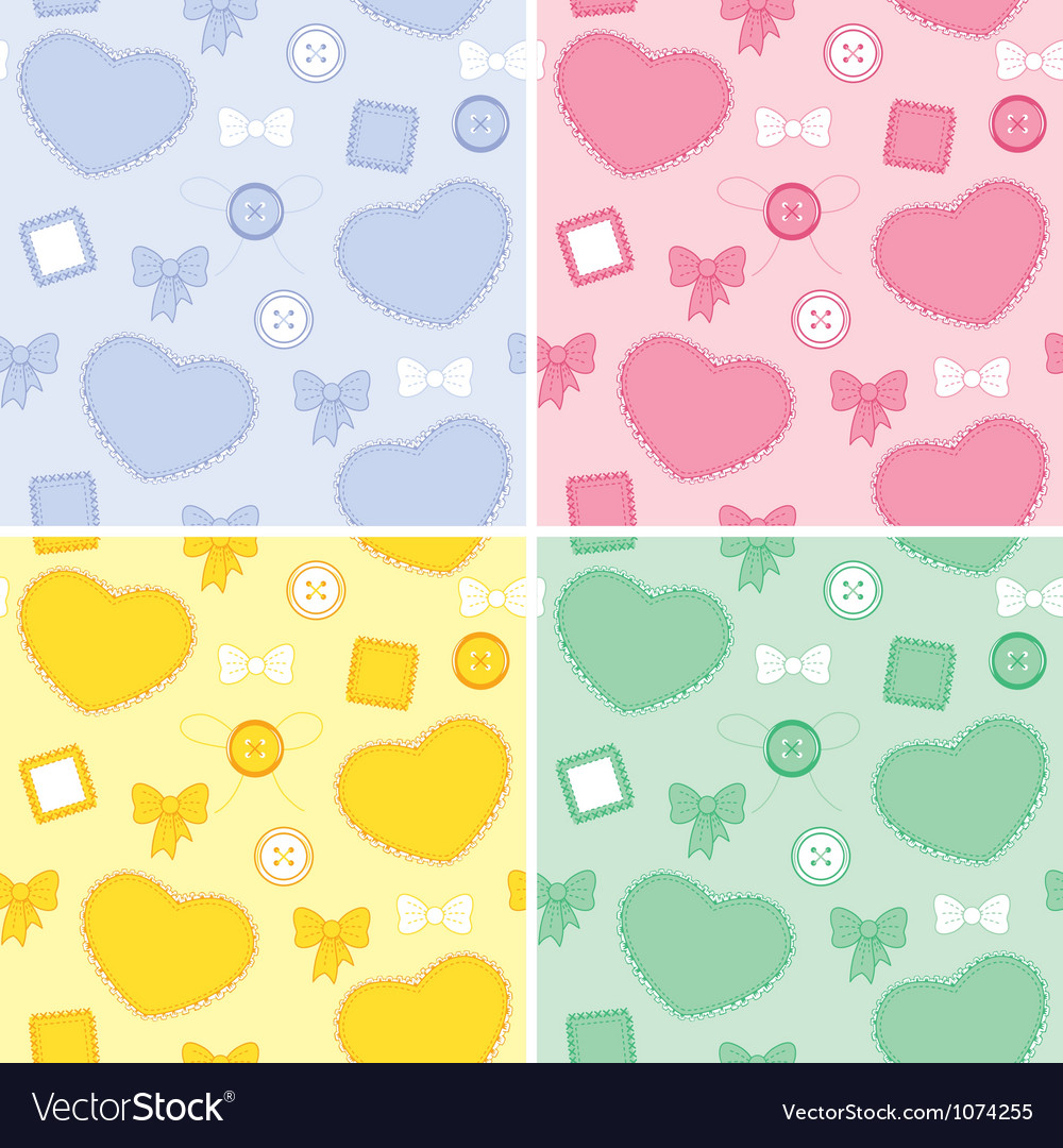Set backgrounds whit hearts and patches vector | Price: 1 Credit (USD $1)