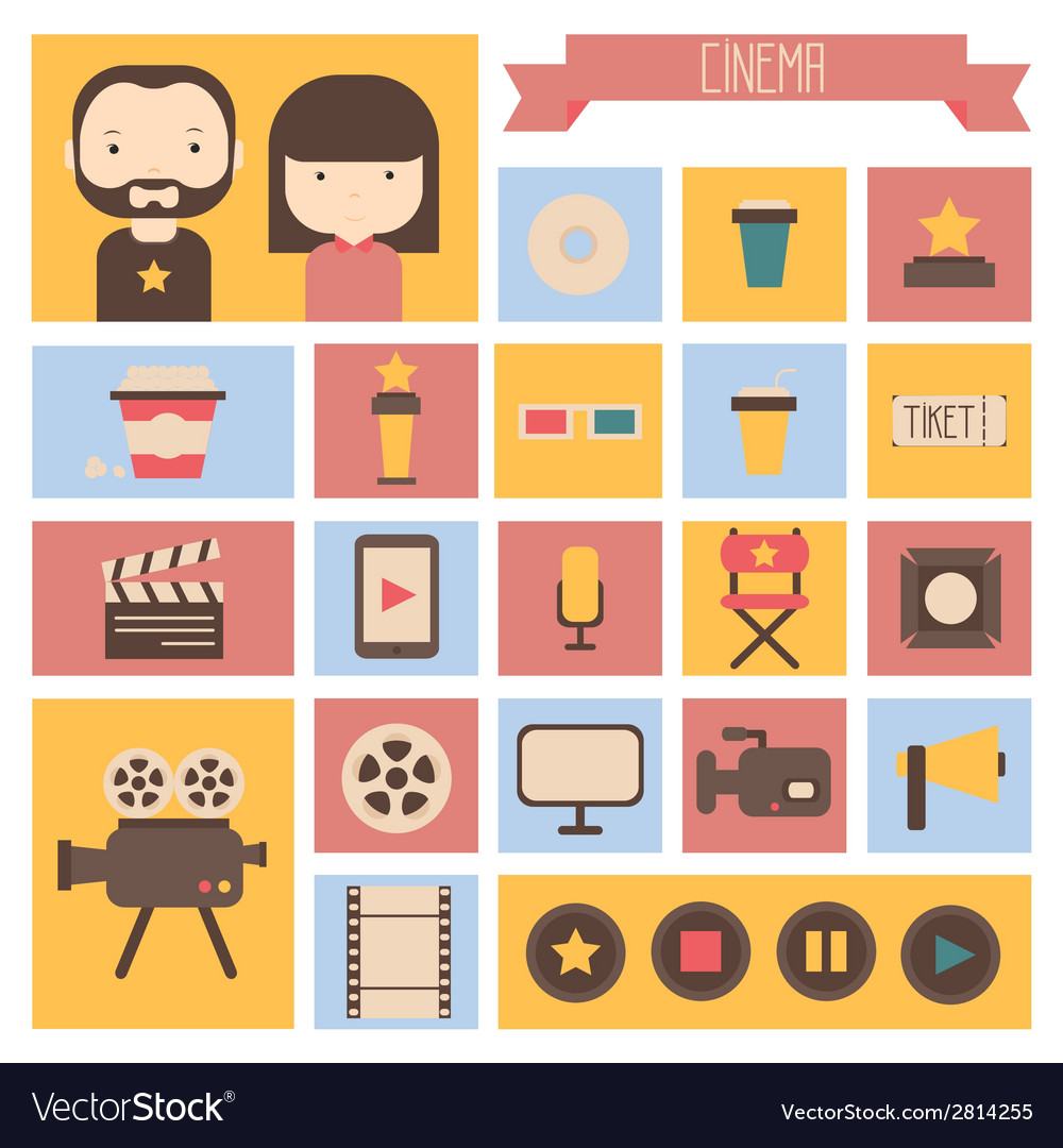 Set of movie design elements and cinema icons in vector | Price: 1 Credit (USD $1)