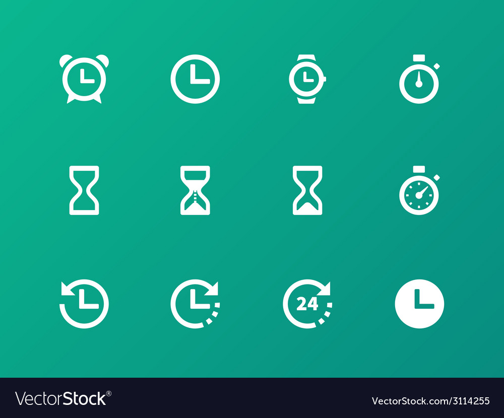 Time and clock icons on green background vector | Price: 1 Credit (USD $1)
