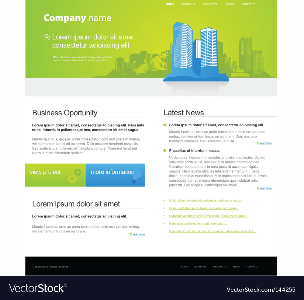 Website template with city vector | Price: 1 Credit (USD $1)