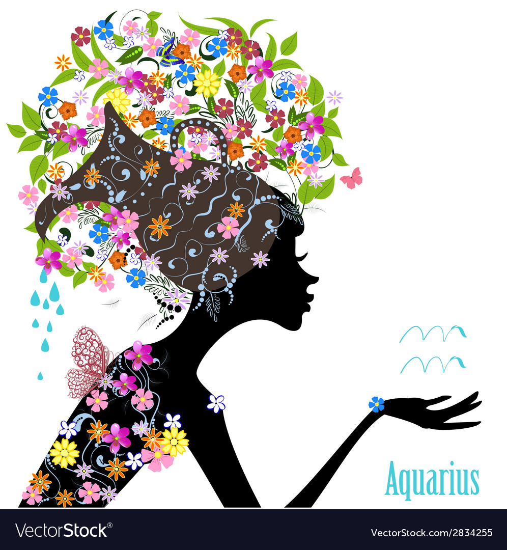 Zodiac sign aquarius fashion girl vector | Price: 1 Credit (USD $1)