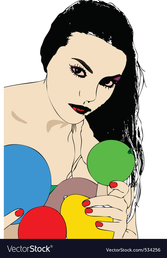 A beautiful woman is behind colorful balloons vector | Price: 1 Credit (USD $1)