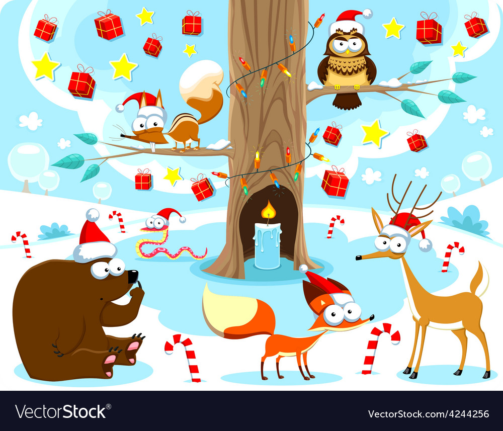 Christmas in the wood vector | Price: 1 Credit (USD $1)