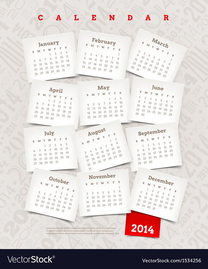 Decorative calendar of 2014 year vector | Price: 1 Credit (USD $1)