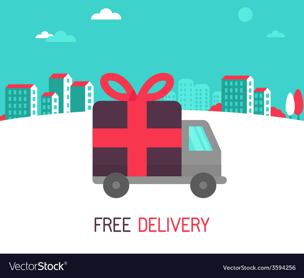 Free delivery concept in flat style vector | Price: 1 Credit (USD $1)