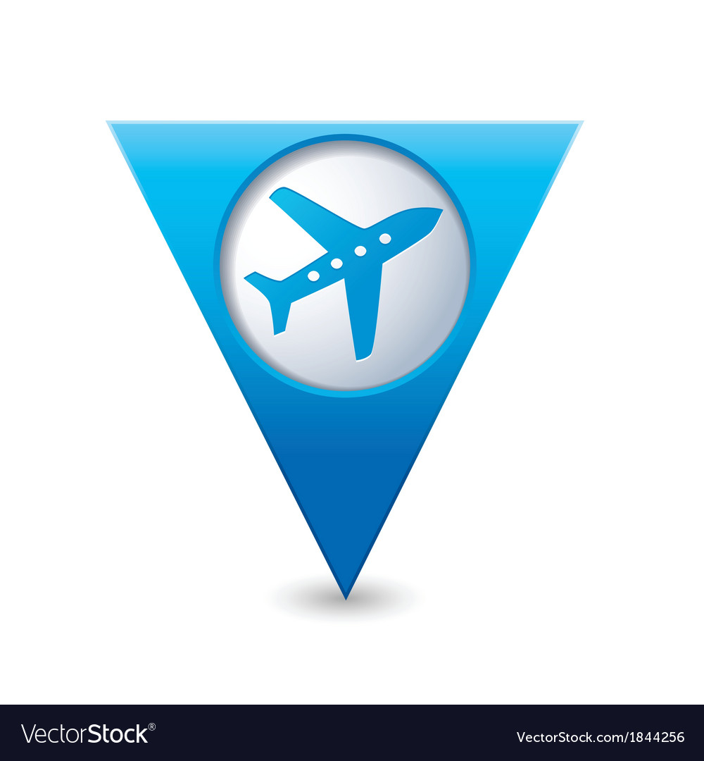 Plane icon on map pointer blue vector | Price: 1 Credit (USD $1)