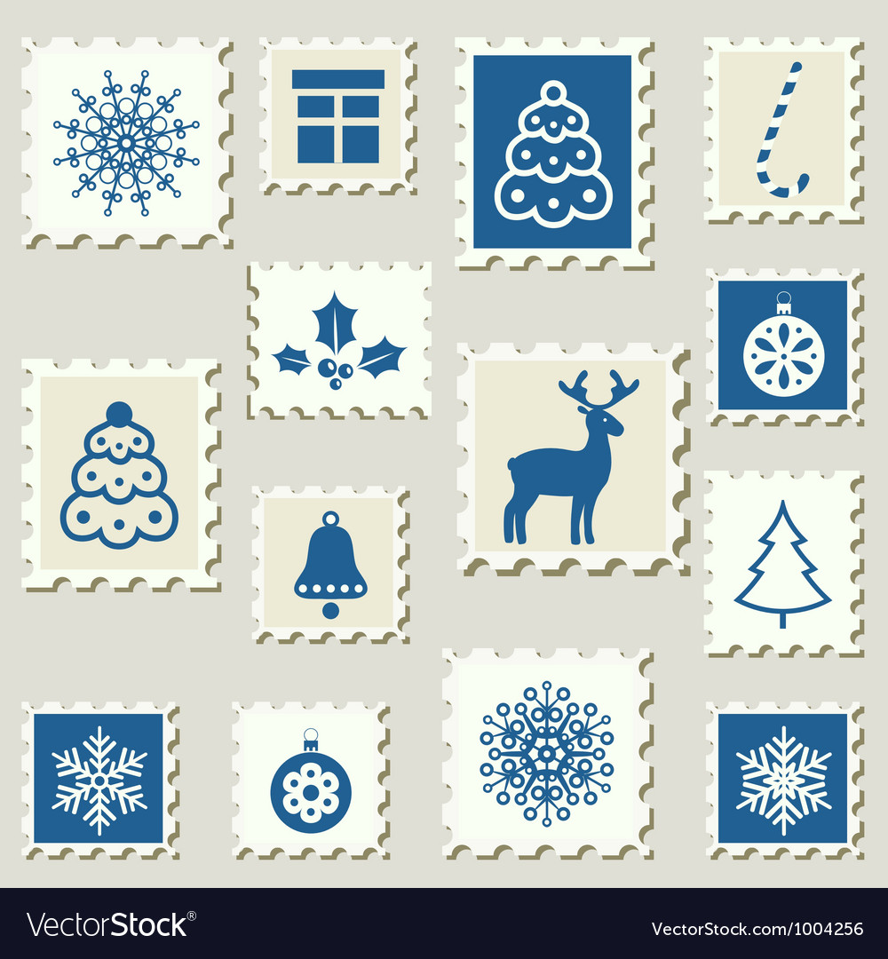 Postage stamps winter vector | Price: 1 Credit (USD $1)