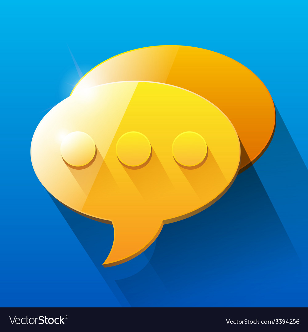 Shiny orange and yellow chat bubble symbols on vector | Price: 1 Credit (USD $1)