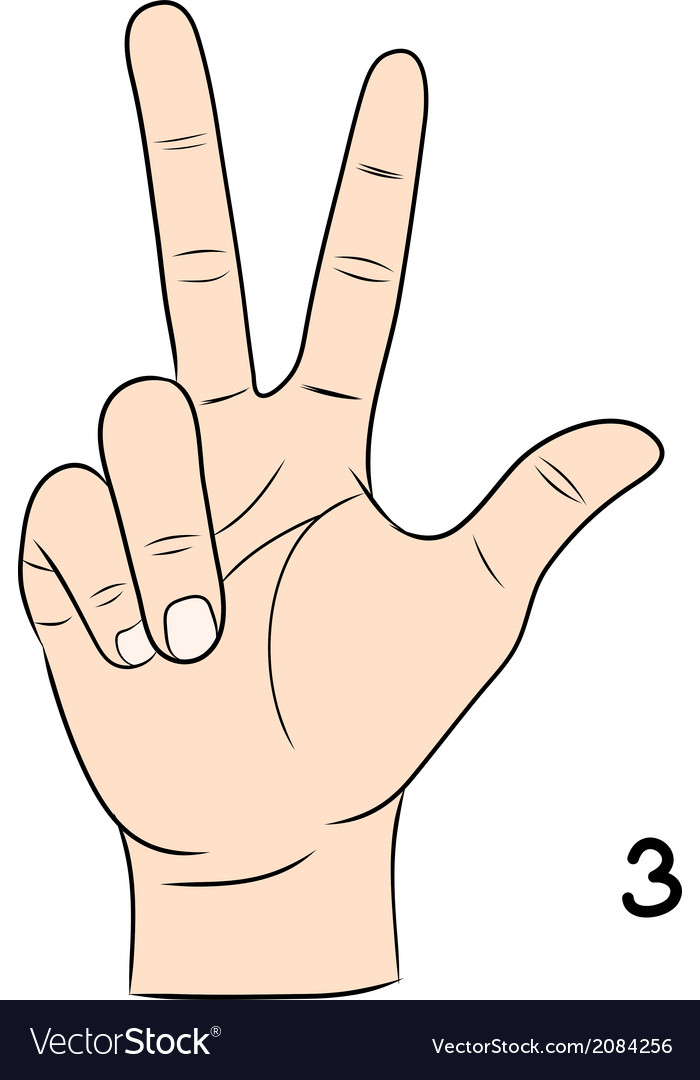 Sign language number 3 vector | Price: 1 Credit (USD $1)
