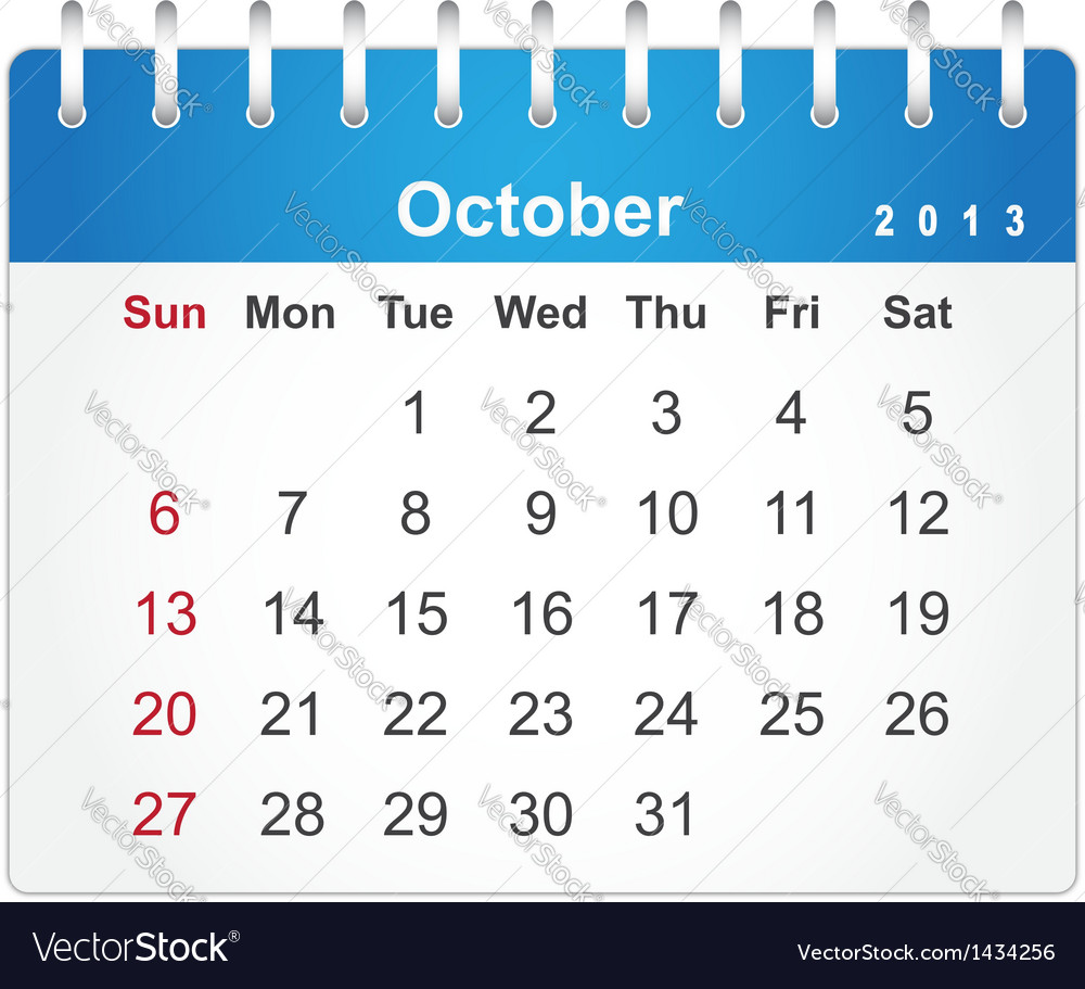 Stylish calendar page for october 2013 vector | Price: 1 Credit (USD $1)