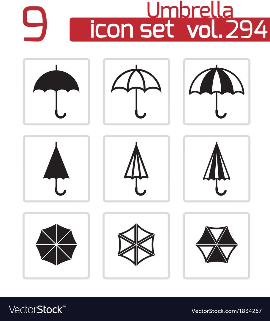 Black umbrella icons set vector | Price: 1 Credit (USD $1)