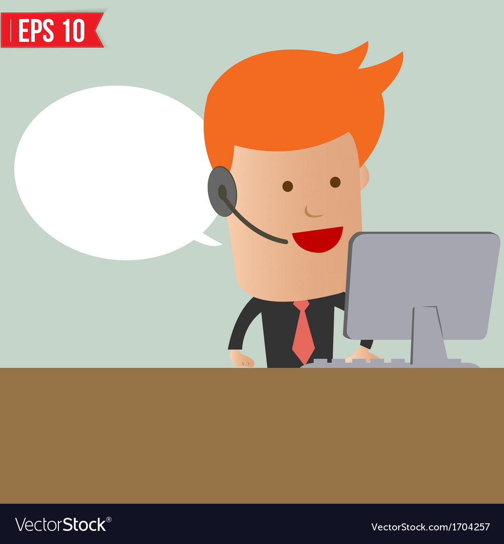 Cartoon business man receive the call - - ep vector | Price: 1 Credit (USD $1)