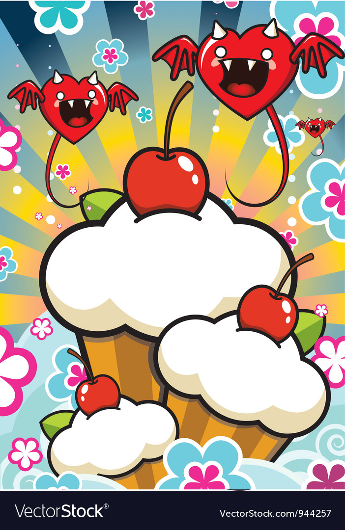 Cherry muffins vector | Price: 3 Credit (USD $3)