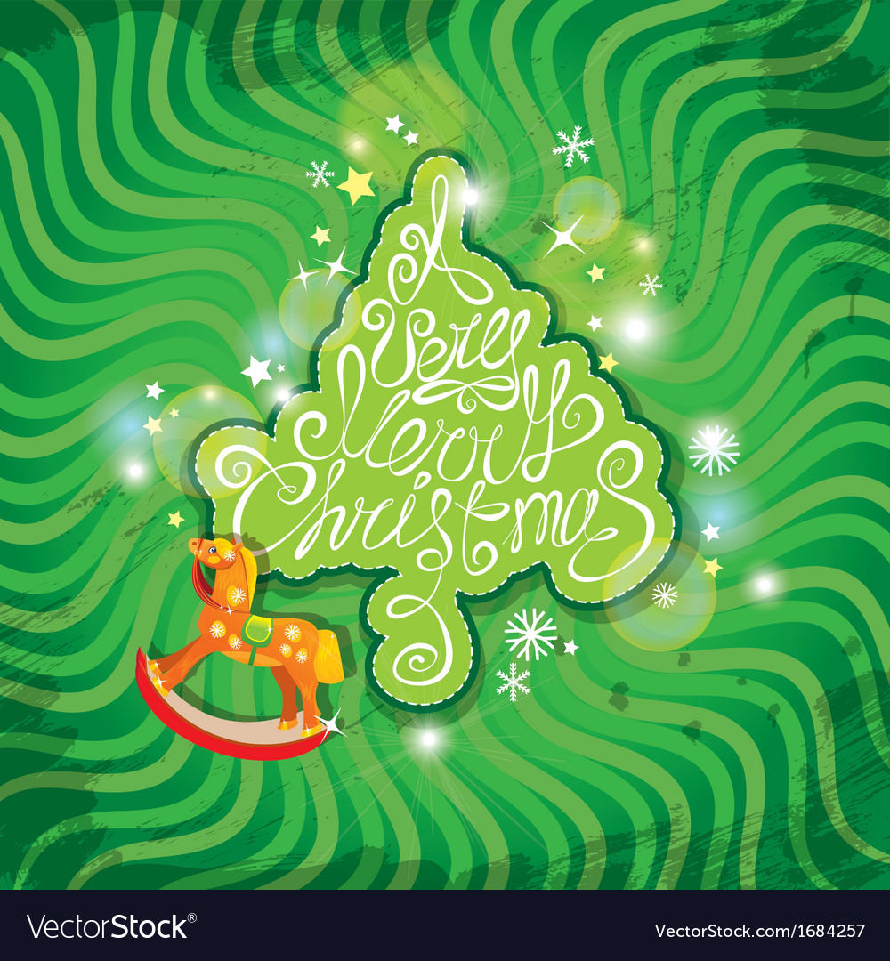 Christmas and new year card with wooden horse vector | Price: 1 Credit (USD $1)