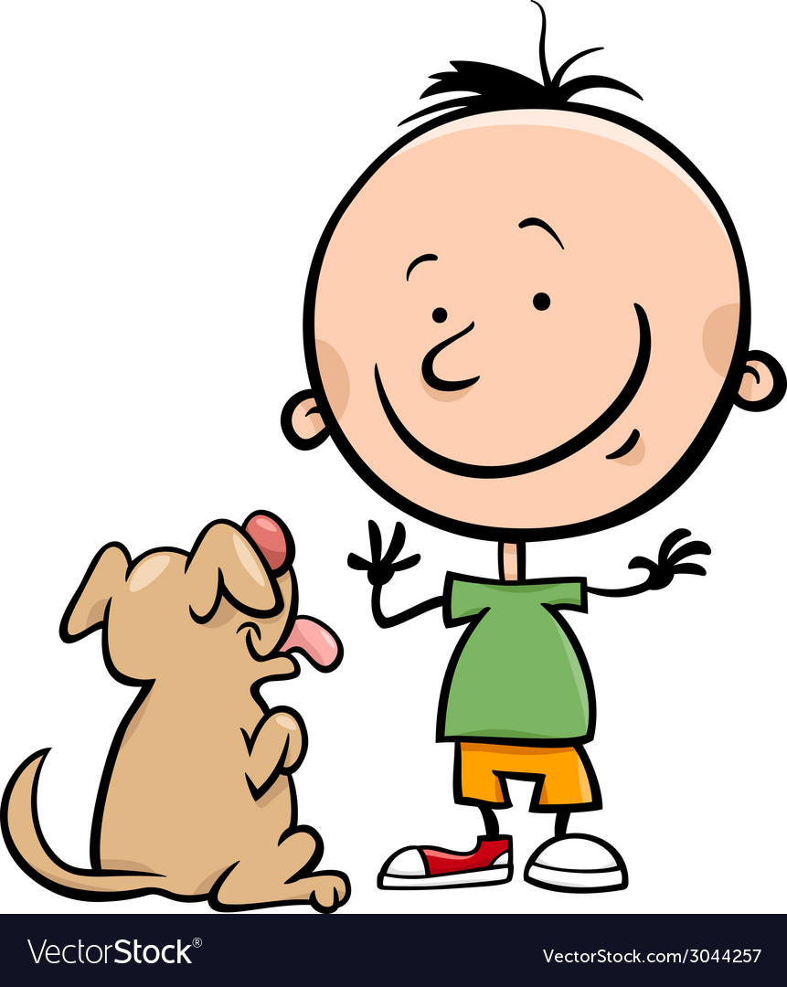 Cute boy with dog cartoon vector | Price: 1 Credit (USD $1)