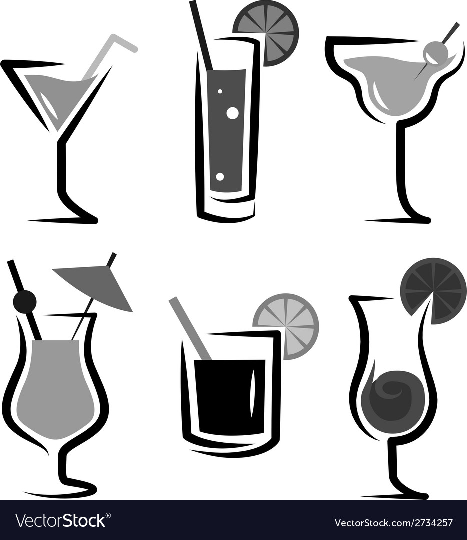 Different kinds of glasses with aperitifs vector | Price: 1 Credit (USD $1)