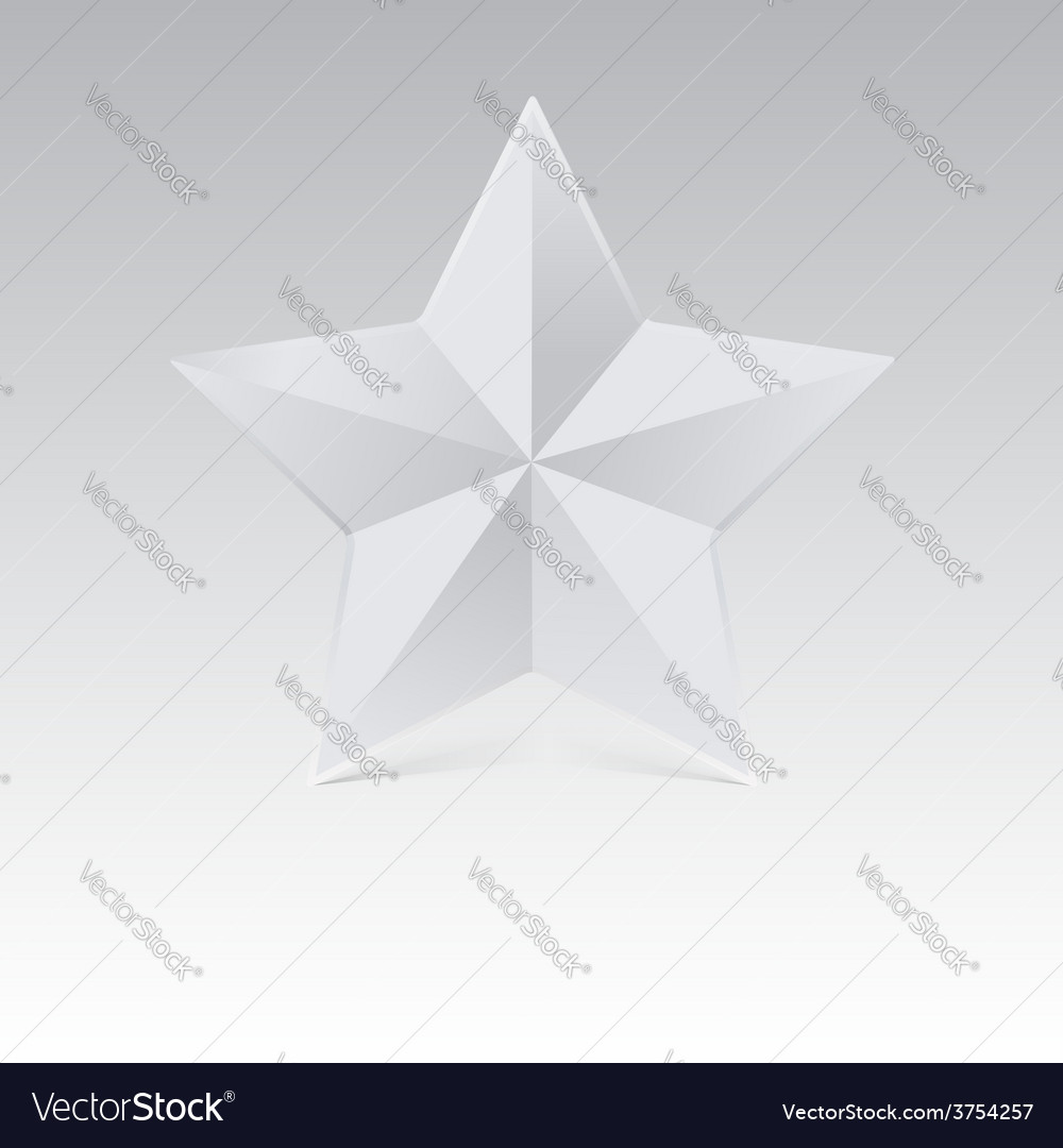 Five pointed star with shadow white color vector | Price: 1 Credit (USD $1)