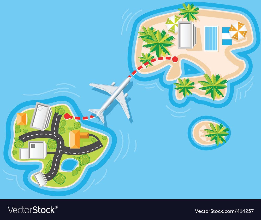 Flight to sea resort vector | Price: 3 Credit (USD $3)
