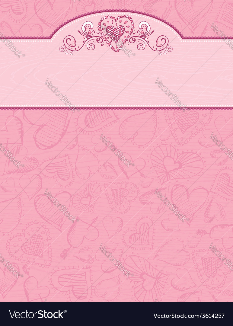Hand draw hearts on grunge pink background vector | Price: 1 Credit (USD $1)