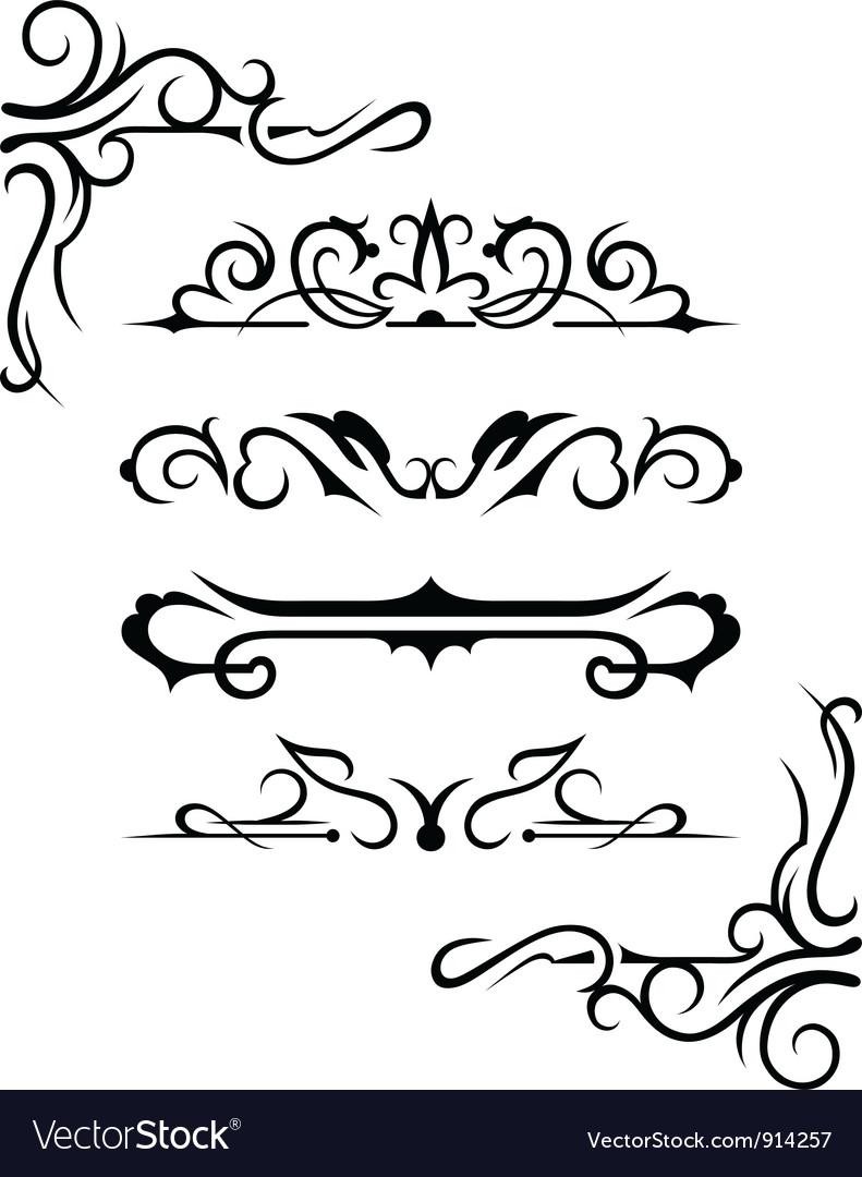 Set calligraphic design elements vector   Price: 1 Credit (USD $1)