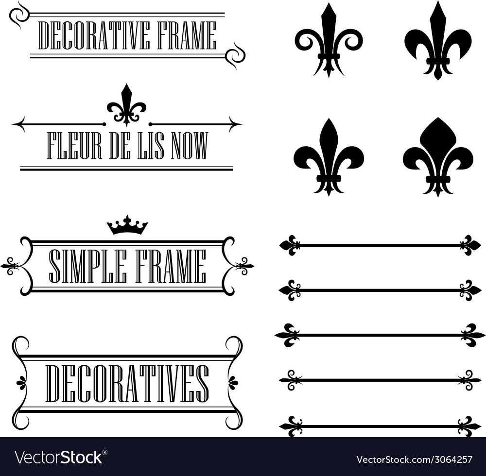 Set of vintage frames deviders and borders vector | Price: 1 Credit (USD $1)