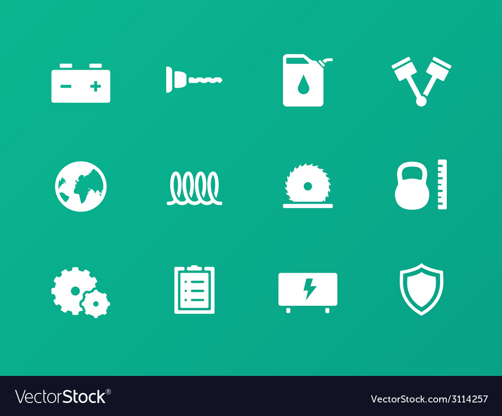 Tools icons on green background vector | Price: 1 Credit (USD $1)