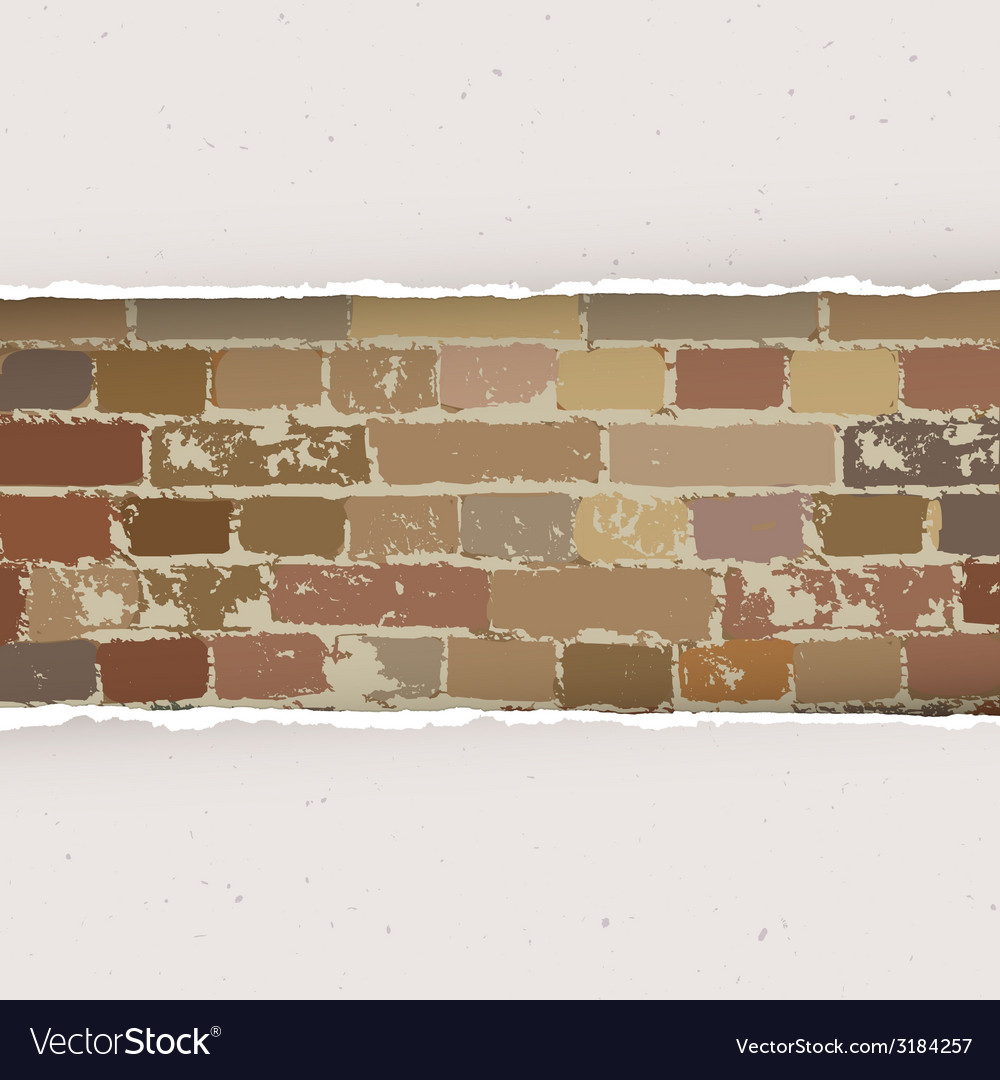Torn paper on brick wall background vector | Price: 1 Credit (USD $1)