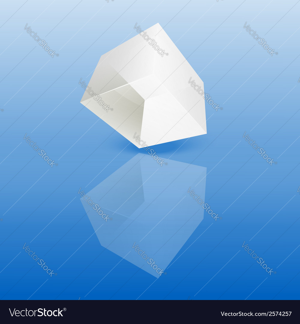 White glass cube on a smooth surface vector