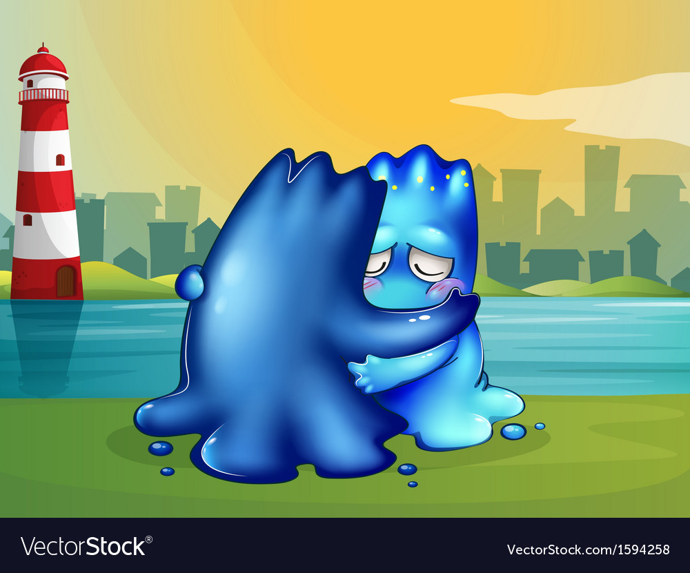 A monster giving a shoulder to cry on for a friend vector | Price: 1 Credit (USD $1)