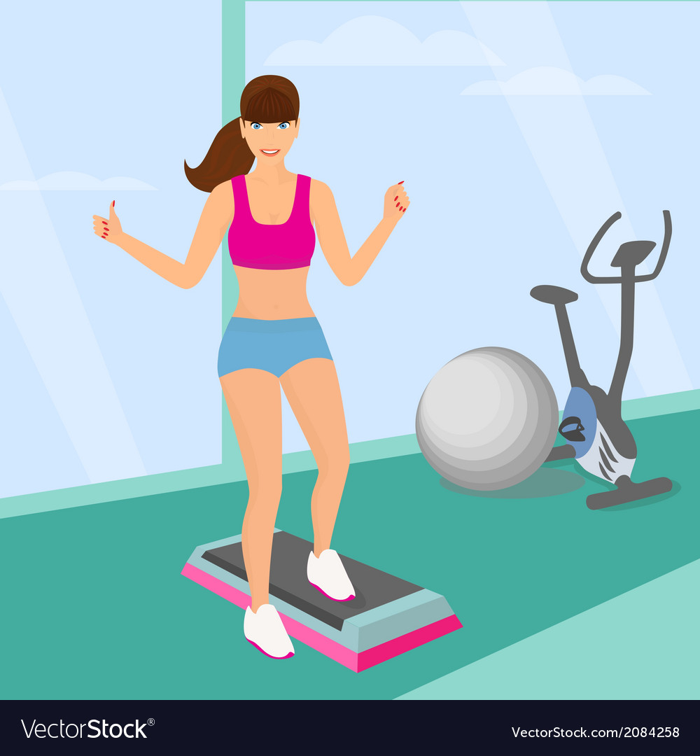 Beautiful woman doing aerobic workout in the gym vector | Price: 1 Credit (USD $1)