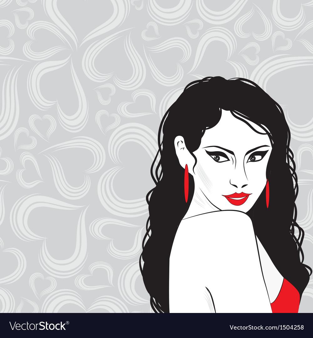 Beauty girl sketch woman face portrai vector | Price: 1 Credit (USD $1)
