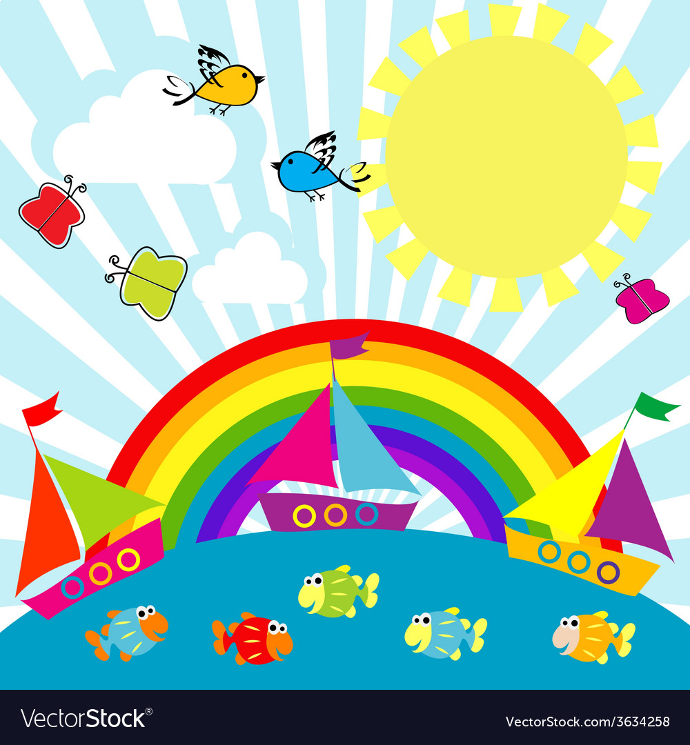 Cartoon sailing boats vector | Price: 1 Credit (USD $1)