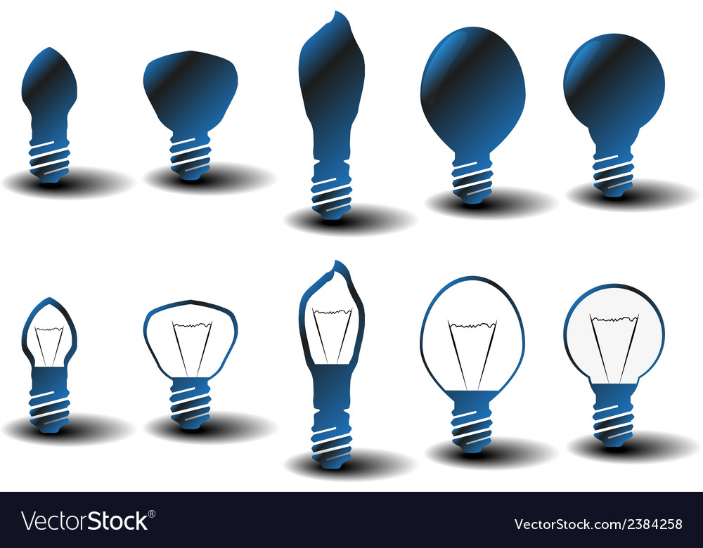 Collection of several bulbs on white background vector | Price: 1 Credit (USD $1)