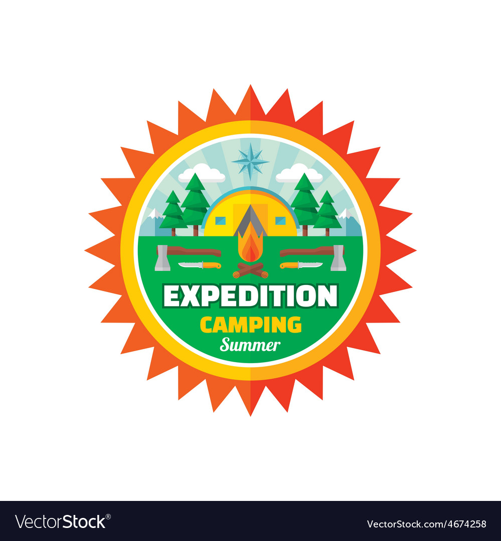 Expedition camping summer - badge vector | Price: 1 Credit (USD $1)
