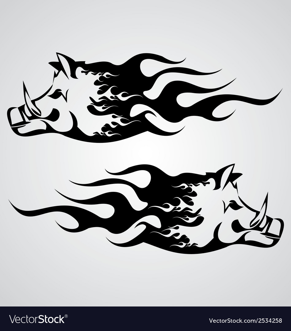 Flaming boar vector | Price: 1 Credit (USD $1)