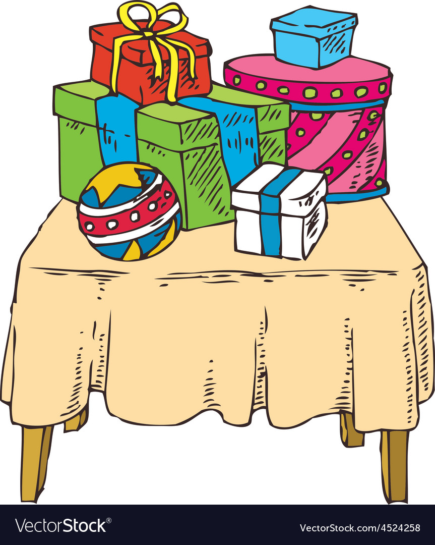 Gifts on the table vector | Price: 1 Credit (USD $1)