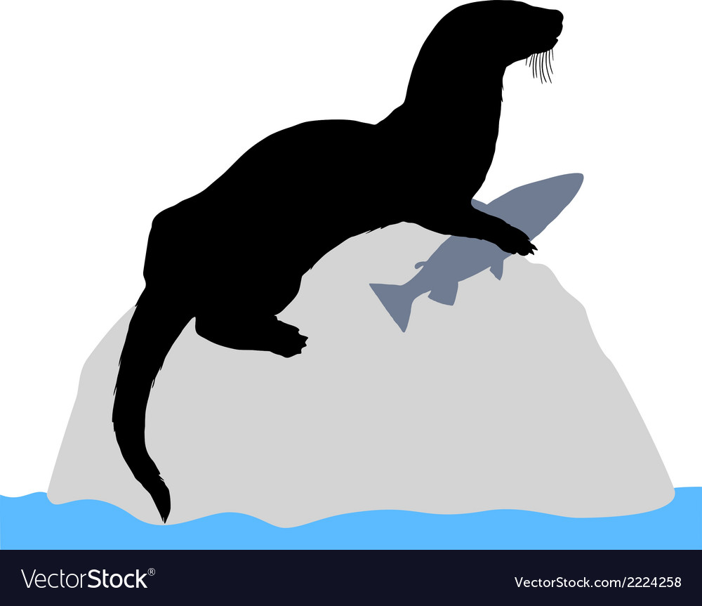 Otter on rock with fish vector | Price: 1 Credit (USD $1)